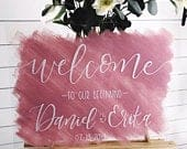 Acrylic Wedding Sign, Wedding Welcome Sign, Calligraphy Wedding Sign, Wedding Ceremony Sign, Painted Acrylic Wedding Sign