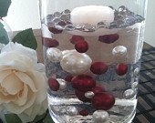 Ivory/Burgundy (red wine) Jumbo Floating Pearls For Vase Fillers/Wedding Centerpiece, Table Confetti, Scatters