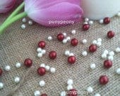150 Pcs Pearls Ivory/MarselaCranberry For Table Scatters/Confetti and wedding decors