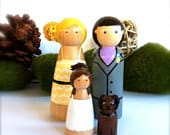 Wedding Cake Topper Custom Family of 4 Keepsake Wood Peg Dolls Wooden Peggies Peg People Decor Ornament Decoration Bridal Tulle Skirt Cute