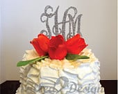 4 inch Acrylic Vine connected monogram CAKE TOPPER Wedding, Birthday, Anniversary
