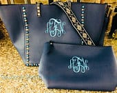 Personalized Guitar Strap Handbag, Purse, Embroidered, Navy, with Clutch Bag, Vegan Leather,Jeweled, Studded, Blue, Gray, Black,SALE