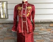 Antique Vintage 1950s Sz M Womens Chinese Satin Lounge / Pajama Set Burgundy w Gold Embroidered Dragons