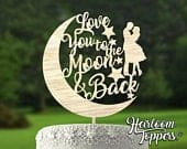 Love you to the moon and back Rustic wooden wedding cake topper. DIY paint topper. Real wood cake topper. Add glitter paint yourself BLING