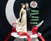 Wedding Cake Topper NCAA Ohio State Buckeyes Groom top Football Touch Down Foot Ball Fan Sports lover Funny