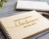 Engraved Wedding Guest book Personalized Wood Cover Rustic Guestbook Custom Sign In Book Party Birthday Alternative Signature Book