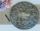 Wedding Guest Book Alternative, Engraved Wood Wedding Guest book, Round Wedding Guest book Sign