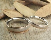 Handmade Rose Gold Matte Matching Wedding Bands, Couple Rings Set, Titanium Rings Set, Anniversary Rings Set
