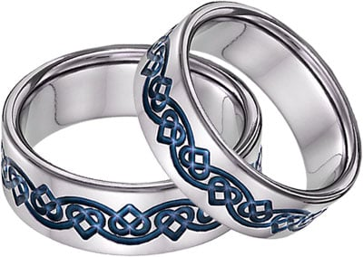 Blue Titanium Celtic Heart Wedding Band Set
