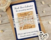 Calendar Save the Date Magnet, Navy Save the Date, Wood Save the Date, Wedding Invitation, Rustic Save the Date, Wedding invitation Set