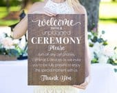Unplugged Ceremony Sign for Wedding Wood White Calligraphy Sign for Wedding Decoration Sign Aisle Sign for Ceremony (Item UNP640)