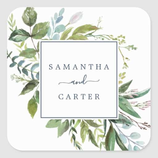 Summer Greenery Wedding Envelope Seals