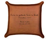 Leather Tray / Love is Patient, Love is Kind / 1 Corinthians 13: 47 / Christian Wedding Gift / Anniversary Present /Wedding Ring Tray /Vows