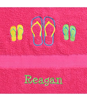 Personalized Sunshine Fun Time Beach Towel - Flip Flops