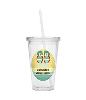 Personalized Retro Beach Tumbler - Flip-Flops