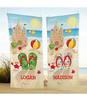 Personalized Flip Flop Fun Beach Towel