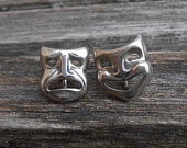 Vintage Happy Sad Earrings, Sterling Silver, ScrewOn. Mothers Day, Mom, Gift, Mother of the Bride, Groom. Annivesary, Birthday