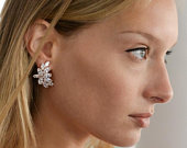 Mariell Blush Rose Gold CZ Earrings with MarquisCut Clusters Bridal, Wedding Mother of Bride Glamour