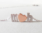 Initial necklace.Rose Gold heart necklace Lowercase initial necklace Custom Bridal Personalized Bridesmaid Gift Wedding Valentines day