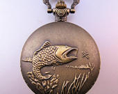 FISHING FISH Pocket Watch with Your Choice of Chain Vintage Style Mens Gift Gift for Dad Gift for Son Gift for Fisherman Gift for Him