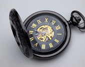 Luxury Black Pocket Watch, Watch Chain, Mechanical Watch, Engravable, Mens Watch, Black Gold Watch Item MPW08g