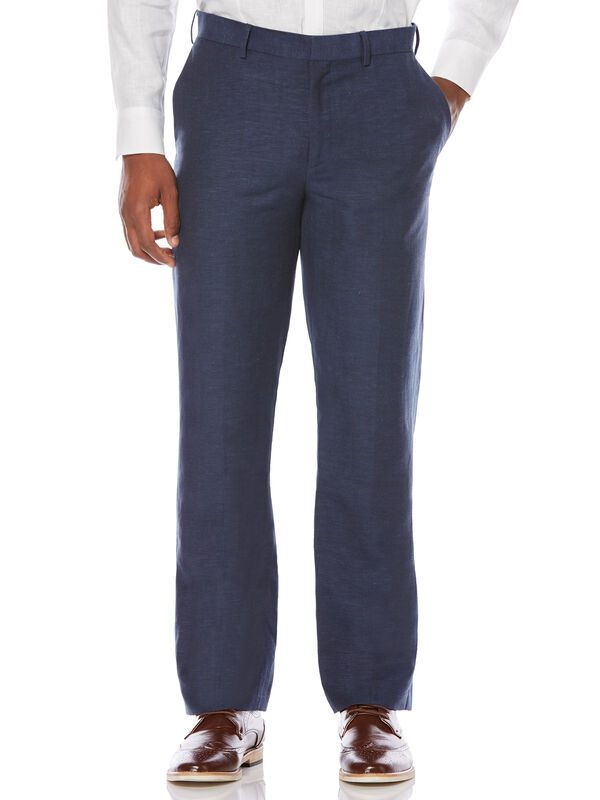 Cubavera Men's Big & Tall Linen Blend Flat Front Pant (Dress Blues) - Size 44x30