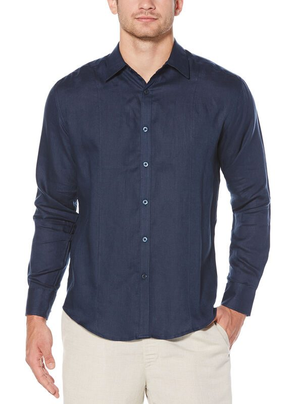 Cubavera Men's 100% Linen Tuck Shirt (Dress Blues) - Size M