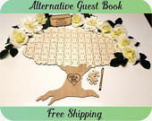Guest Book Autumn Fall Tree Puzzle Wedding Guest Book Alternative, Personalized Guest Book, Custom Guest Book, Rustic, Tree of Life