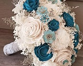 Turquoise Teal Sola Flower Bouquet, Sola Flowers, Teal Wedding Flowers,Rustic Shabby Chic, Bridal Accessories,Keepsake Bouquet, Sola Bouquet