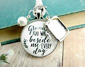 Grandfather Wedding Bouquet Charm Grandpa You Walk Beside Me Photo Frame Memorial Rustic Remembrance Loving Memory Jewelry Bridal Flowers