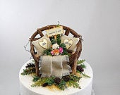BARN 6 INCH WEDDING Cake Topper Custom Colors Personalized Rustic Love Seat Wedding Date Sign Mini Bride Bouquet Greenery Accents