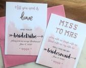 BRIDE TRIBE Bridesmaid Proposal Card Maid of Honor Matron of Honor Flower Girl Funny Miss to Mrs Shower All you need is Love