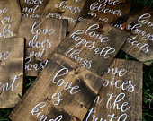 10 Wooden Corinthians Signs Set of Ten (10) Wedding Signs Rustic Wedding 1 Corinthians 13 Verse Biblical Verse Rustic Signs