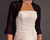 3/4 Bell sleeve Chiffon bolero jacket shrug wedding wrap bridal sheer cover up CBA216 AVL IN black and 11 other colors. Small Plus size!