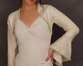 Satin bolero jacket wedding bridal shrug trimmed bell sleeve coat SBBA AVAILABLE in ivory and 2 other colors. Small through plus size!