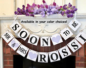 Engagement Party Decorations / Couples Shower Banner / Purple Soon to be Mr and Mrs. Banner / Bride to Be Sign / Engagement Party Ideas