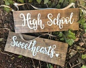 High school sweethearts, wedding chair signs, rustic wedding decor, bride and groom chair hangers, hand painted wood signs, wedding sign.
