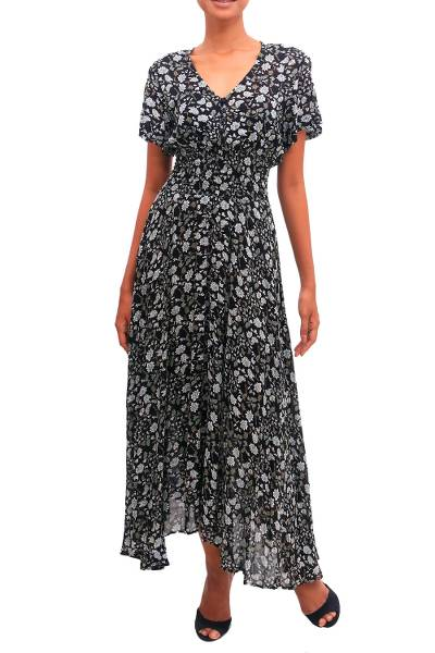 Short Sleeve White and Olive Floral on Black Rayon Dress