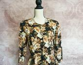 1980s peplum floral dress