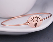 Flower Girl Gift, Rose Gold Bracelet, Personalized Flower Girl Jewelry, Wedding Party Gift, Rose Gold Wedding