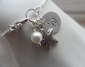 Custom Initial, Starfish and Pearl Bracelet Bridesmaid Gifts, Flower Girl Gifts, Bridal Party Gifts