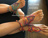 ONE Pair of Flower GIRL Barefoot Sandals Shoes Crochet Wedding Lace Ankle Bracelet Foot Jewelry Beach Clothing Accessories