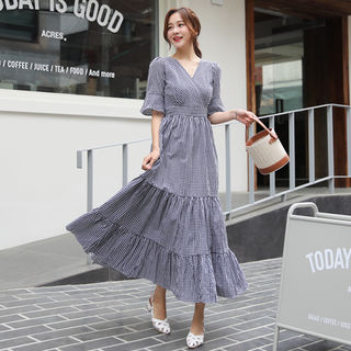 Wrap-Front Gingham A-Line Dress