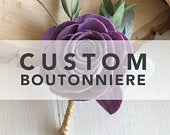CUSTOM Wedding Boutonnire Wooden Flowers Wedding Collection Custom Colors Made to Order Match your bouquet Grooms Flower Sola