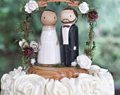 Personalized Wedding Cake Topper / Custom wooden Peg doll / Wedding Bouquet / Unique Gift Idea for Wife / Anniversary / Custom Wedding idea
