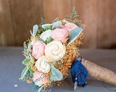 Sola Flower Succulent Bridal Bouquet Hen and Chick, Ivory and Blush Wood Flowers, Lambs Ears, Artificial Succulents, Wedding Flowers