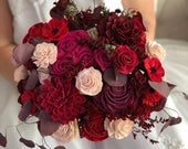 Roses and Rubies Bridal Bouquet Allure Collection Wood Flowers Sola Flowers Wedding Bouquet Lasting Bouquet