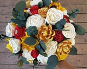 Red and gold bouquet, red gold yellow bouquet, sunflower bouquet, bridal bouquet, wedding bouquet, sola wood flowers