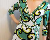 Diane von Furstenberg Wrap Dress, Green Black White Psychedelic Jersey Knit, New Julien