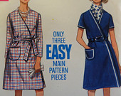 FRONT WRAP DRESS Pattern Butterick 5048 Miss 18 A Line Dress Wrapped Dress Sewing Patterns Womens Patterns WhiletheCatNaps